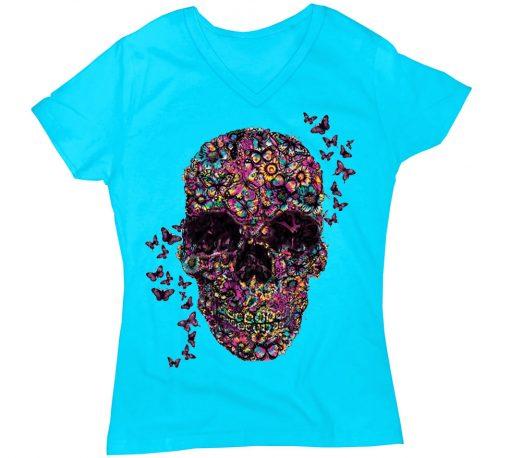 playera de dama flower skull
