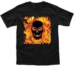 fire skull playera de hombre